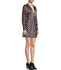 tena v-neck striped a-line dress