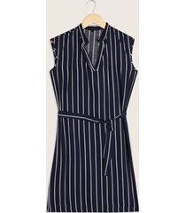 vestido estampado manga corta con cuello henley-10