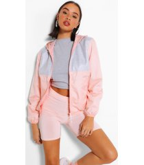 jersey panel hooded bomber jacket, peach