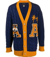 alanui varsity cable knit cardigan - blue