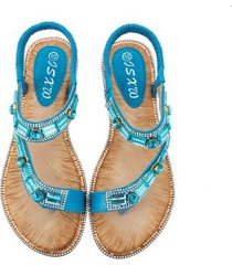 sandalias planas de rayas a cuadros para mujer-azul