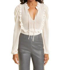 rebecca taylor crochet stitch wool blend sweater, size x-large in nude at nordstrom