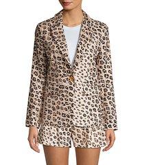 anilah leopard linen blazer
