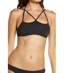 women's frankies bikinis aleisha bikini top, size medium - black