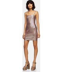 rose gold holographic bodycon mini dress - rose gold