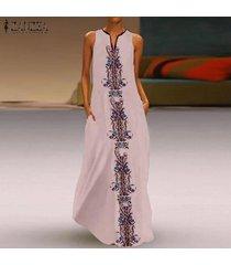 zanzea para mujer de la playa de bohemia del vestido floral de las señoras de los vestidos maxi largo del chaleco más el tamaño -rosado