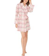 muk luks women's cozy short fleece robe