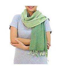 cotton reversible scarf, 'jade green duet' (thailand)