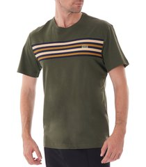 crew neck contrast stripe t-shirt - khaki th8564-s7t
