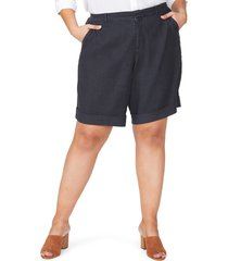 plus size women's nydj linen bermuda shorts, size 18w - black