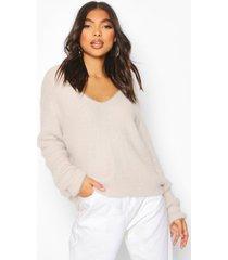 tall fluffy knit v neck sweater, silver