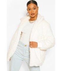 gewatteerde faux fur jas, cream
