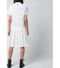 thom browne women's short sleeve pleated bottom polo dress with diagonal stripe in classic pique - white - it 40/uk 8