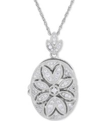 cubic zirconia oval floral locket pendant necklace in sterling silver
