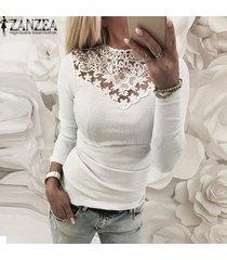 zanzea mujeres camiseta de manga larga de encaje elástico delgado croceht tapas de la camisa ocasional del remiendo de la blusa -blanquecino