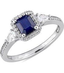sonatina women's 14k white gold, white & blue sapphire & diamond ring/size 5 - size 5