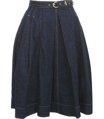 pleated denim skirt w/belt