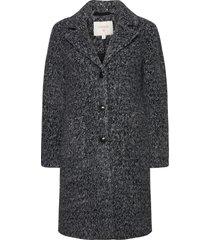 ameliacr coat wollen jas lange jas zwart cream