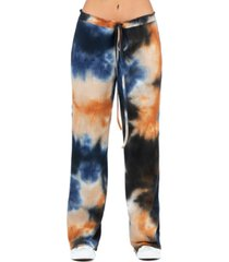 women's waffle fabric tie dye drawstring lounge pants
