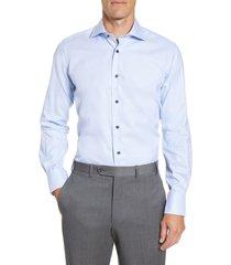 men's big & tall david donahue trim fit solid dress shirt, size 17 36/37 - blue