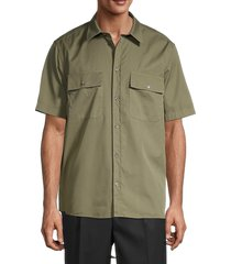 helmut lang men's oversized cotton button front shirt - olive - size xs