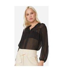 amaro feminino camisa manga 7/8 com detalhe de entremeio, preto