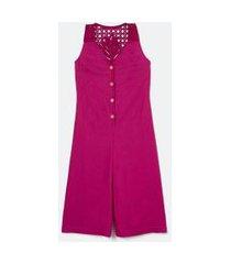 macacão pantacourt em linho com detalhe em crochê nas costas | marfinno | rosa | pp