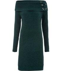 abito in maglia con spalle scoperte (verde) - bodyflirt
