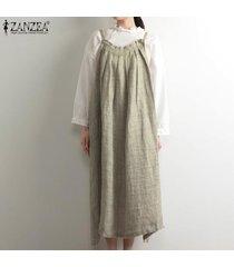 zanzea verano de las mujeres tamaño mangas de la correa del delantal dungaree vestido overallls plus (no incluye la camisa) -caqui