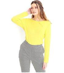 jersey de punto fino, cuello redondo, manga larga color-verde limón-talla-s