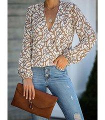 blusa con mangas de linterna con cuello en v y diseño de abrigo estampado blanco