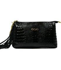 bolsa em couro recuo fashion bag transversal croco preto