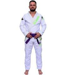 kimono green para jiu jitsu in the guard trançado pesado gramatura 640