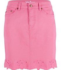 gonna di jeans elasticizzata con ricamo (fucsia) - john baner jeanswear