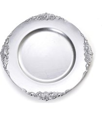 sousplat natalino decoração mesa natal prata borda moldura