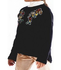 sweater flowers casual negro going merry