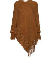 cim knit poncho poncho regnkläder brun cream