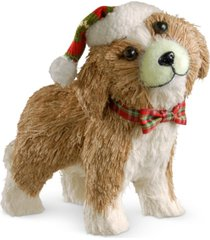 "national tree company 11.5"" holiday puppy with santa hat & bowtie"