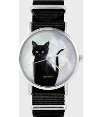 zegarek - czarny kot - czarny, nylonowy