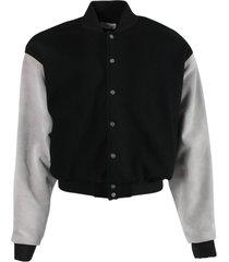 black and grey panel bomber jacket