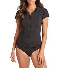 women's sea level zip-up short sleeve rashguard top, size 8 us - black