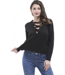 sweater escote lace up negro nicopoly