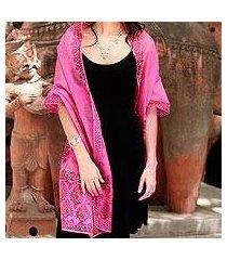 cotton and silk shawl, 'festive diwali' (india)