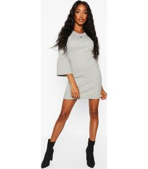 rib flare sleeve midi dress, grey marl