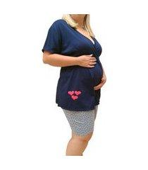 pijama plus size linda gestante bermudoll maternidade manga curta