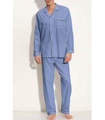 men's majestic international herringbone cotton pajamas, size x-large - blue