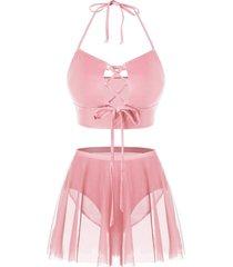 plus size halter lace up skirted tankini swimsuit
