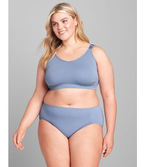 lane bryant women's level 1 smoother hipster panty - ribbed sides 18/20 country blue