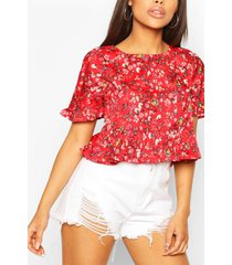 ditsy floral ruffle sleeve smock top, red