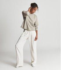 reiss brooke - relaxed loungewear sweatshirt in sage, womens, size l